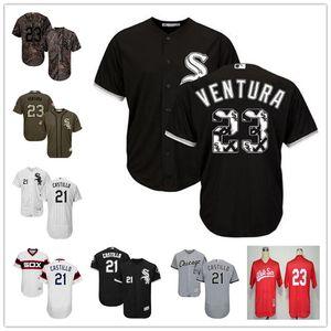 Les hommes de mesureChicagoWhite Sox 21 Welington Castillo 23 Robin Ventura noir Throwback authentique Golden EditionMLBJersey