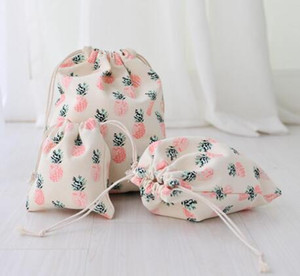 Storage Bag Canvas Drawstring Bags Pink Pineapple Print Fashion Sacks Party Favor Gifts Pouches Event & Party Supplies d1