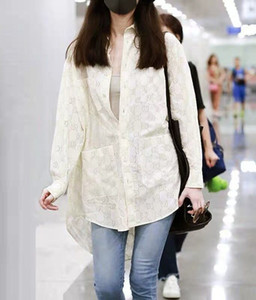 Marken-Designer-Frauen-beiläufige Maxi-Shirts 2019 Early Autumn Fashion Style aushöhlen Hallo Low Langarm Bluse Tops