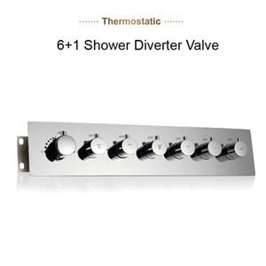 2019 고품질 브래스 크롬 샤워 분배기 밸브 6 기능 샤워 컨트롤러 욕실 샤워를위한 온도 조절 식 고 유량 혼합 밸브