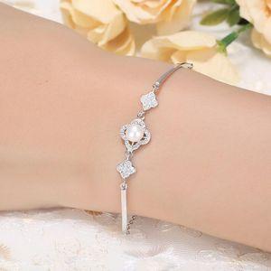luxury jewelry S925 steling silver bracelets three flowers pearl bracelets simple lovely for women hot fashion
