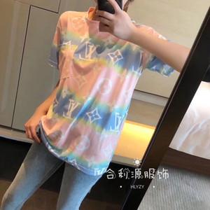 versão coreana do sexo feminino 2020 de manga curta da impressão a cores camiseta folgada e tingimento amantes camisa verão fundo irregular boudoir moda T