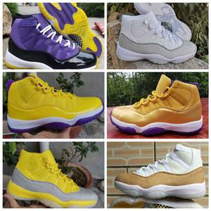2020 nuevos zapatos de 11 XI WMNS plata metálico amarillas 11s para mujer para hombre de baloncesto púrpura blanco de alta calidad de las zapatillas de deporte de diseño Jumpman Deportes