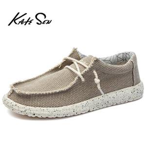 KATESEN 2019 sapatos masculinos de lona verão ocasional respirável sapatos condução deslizar fácil de sapatos baixos homens desgaste tamanho macio grande