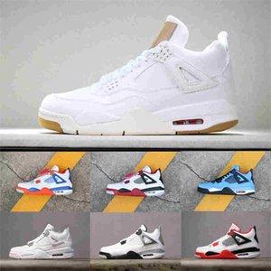 PRODUZIDO Shoes Air Tattoo JORDAΝ4 Basquetebol 4s Sneakers Mens Black White Cement Pure dinheiro sapatos Oreo Denim Motorsport Esportes