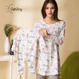 Women Maternity clothes pajamas nightwear Breastfeeding clothes Nursing Tops Long Sleeve for Pregnant women parent-child clothes