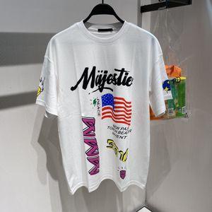 2020 Men's designer shirt summer top men's women's women's men's short-sleeved shirt white flag letter printed short-sleeved loose T-shirt