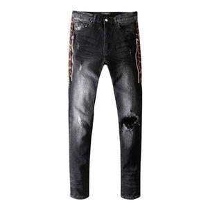 2019hot sale New Mens Distressed Ripped Biker Jeans Slim Fit Motorcycle Biker Denim For Men Fashion Designer Hip Hop Mens Jeans Good Quality