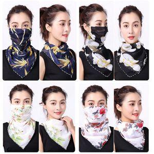 Женщины шарф маски для лица 38 стилей шелкового шифон Handkerchief Открытых ветрозащитного Половина лицо Пылезащитно Зонт Маска LJJO7663
