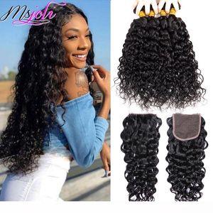 L Buy 4 Bundles Get One Free Closure Water Wave Bundles With Closure 4x4 Lace Closure With Human Hair Bundles Brazilian Virgin Hair