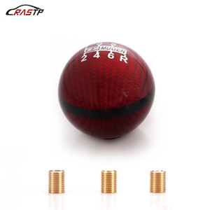 RASTP-universal roja del coche de fibra de carbono Manual Gear Shifter Stick Shift Lever Knob adaptador 6 Velocidad M8 * 1.25 * 1.25 M10 M10 * 1.5 RS-SFN051
