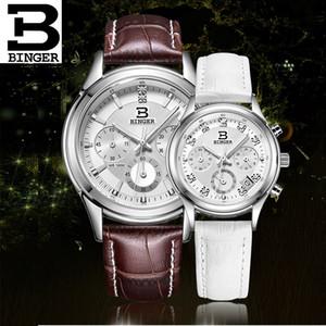 Binger 2019 пару часов Швейцарии Кварцевые водонепроницаемые часы мужчины подлинной кожаный ремешок хронограф Наручные часы BG6019