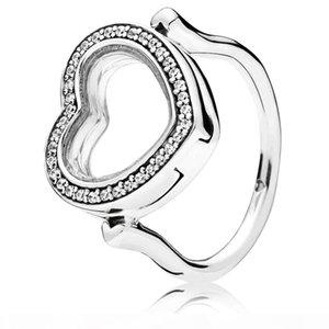 925 Prata Sparkling Floating Coração Locket Anel Fit Pandora jóias amantes casamento do acoplamento anel de moda para as mulheres
