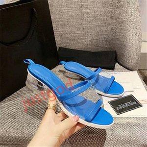 Chanel Hot Sale-Nuova colorato Mules pistoni di marca pantofole progettista pantofole Mules PVC agnello Donne tacco basso del pattino di modo hococal