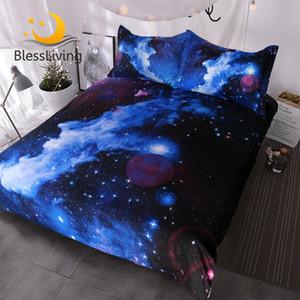 BlessLiving Туманность комплект постельных принадлежностей 3D Galaxy пододеяльник 3 шт дети мальчик девочка постельное белье Синий Фиолетовый пространство постельные принадлежности покрывала Королева