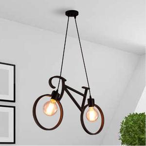 Forma de Bicicleta de ferro Do Vintage Criativo Lâmpada Pingente E27 Suporte Da Lâmpada 110-240 V Foyer Coffee House Salão de jantar pingente luzes