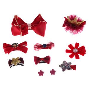 10 Pcs Baby Girls Bowknot Ribbon Hair Clips Headband Crown Flower Hairpin