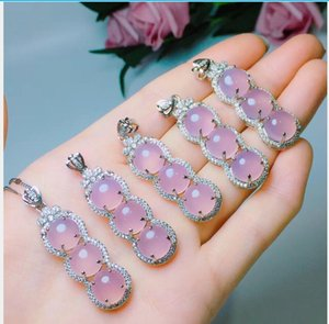 Handmade natural jade ice bottom and violet jade four seasons peace pendant necklace 197A1