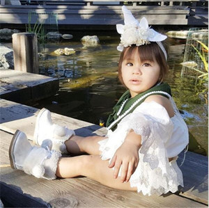 Baby Girl Kids Clothes Summer Outfits Skirt Set Lace Sleeve Crop Tops + Shorts Skirts Dress 2PCS Boutique Girls Toddler Clothing Sets E22501
