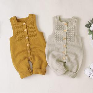 Bebek Giyim Pamuk Kolsuz Bebek Kız Rompers Bebek yenidoğan Kızlar fırfır Örme Yün Romper Tulum tulum Pijama