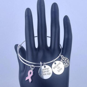 Argento d'epoca mai non mollare la consapevolezza del cancro al seno amuleti bracciali espandibili per le donne gioielli di moda regali accessori