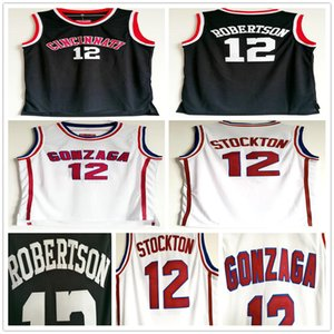 NCAA Gonzaga Bulldogs Koleji John 12 Stockton Beyaz Basketbol Jersey Cincinnati Bearcats Oscar 12 Robertson Vintage Siyah Dikişli Formalar