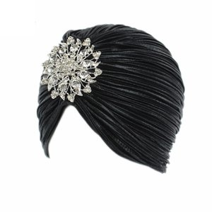 Women Indian Turban Hat Head Wrap Pleated Hair Hijab Cap with Brooch Suitable for You in Different Accasions