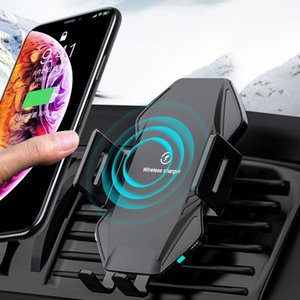 Qi Wireless cargador del coche 10W de carga rápida para iPhone XS 11 X 8 titular del teléfono cargador inalámbrico por infrarrojos del vehículo inteligente