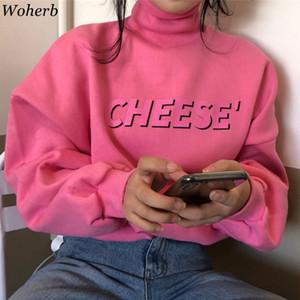Woherb nueva manera coreana sudaderas con capucha de las mujeres de impresión de letras Harajuku rosa sudadera pulóver 2020 Tops Primavera Otoño dulce cuello alto