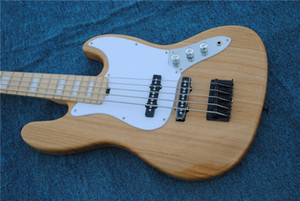 Factory Custom 5 Strings Natural Wood Color Electric Bass Guitar,Chrome Hardwares,Maple Fingerboard,Ash Body