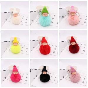 Örgü Şapka Baby Doll Anahtarlık Tatlı Kabarık Pompom pon Araba Anahtarlık Oyuncak Sahte Tavşan Kürk Pom Bebek Anahtarlık Trendy Hediyeler Sleeping LXL918-1