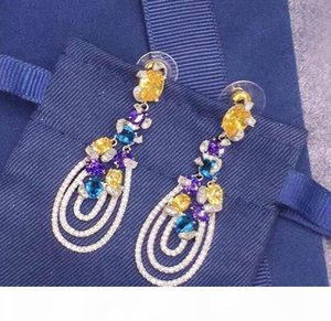 Famous designer jewelry luxury wedding love earrings 925 sterling silver Colorful diamond temperament elegant drop earrings