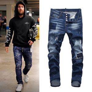Vaqueros ajustados diseñador de los hombres fresco del individuo remiendo rasgado lejía Lavar pintadas Pantalones Efecto Vaquero pantalón de mezclilla
