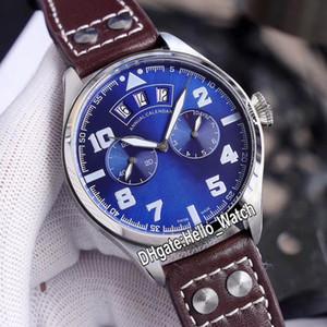 Neuer großer Piloter kleiner Prinz IW502703 blaues Zifferblatt 7-Tage-Gangreserve Automatische Herrenuhr Stahlgehäuse Braune Lederbanduhren Hello_watch