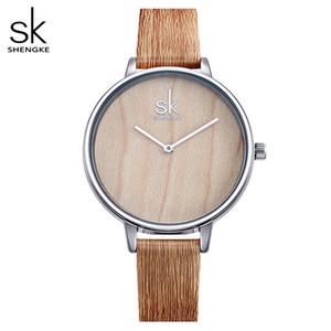 Shengke 2018 Nueva creativo relojes de las mujeres ocasionales de cuero de madera del reloj de manera simple mujer de cuarzo reloj de pulsera Relogio Femenino
