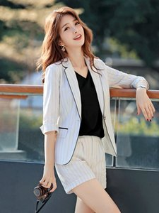 Women Clothes Small Suit Jacket Women's Suit New Casual Striped Professional Wear Shorts Jacket Two-piece Set