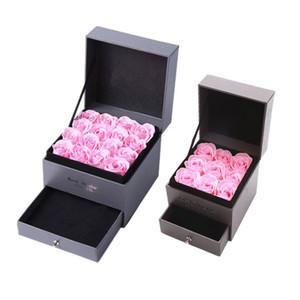 Мыло цветок Jewelry Box Set Искусственные розы Романтический День Святого Валентина Свадьба День матери Фестиваль Творческий высокого класса подарков Rose DBC DH1277