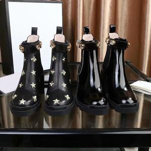 las mujeres del diseñador de moda Calzado Botas británica punta redonda Martin botas de hebilla de correa Chunky talón toca con la punta de la Ronda Botas tobillo de la manera bordado