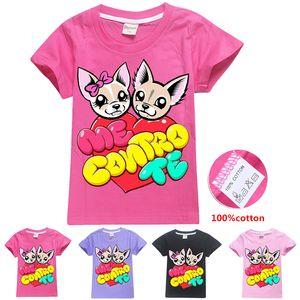 ME CONTRO TE 귀여운 개 인쇄 아이 T 셔츠 4 색 6~14톤 여자면 100 %의 t 셔츠 아이 디자이너 옷 여자 SS300