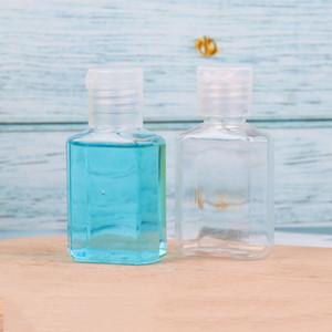 kozmetik tek el temizleme için açılır kapanır üst kapak açık kare şekli şişe PET plastik şişe dezenfektanı 30ml elle