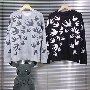 New autumn winter 2020 printed long-sleeve hoodie double-ply cotton fabric for men and women, gray and black size: S M L XL XXL