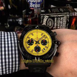 Barato Nuevo MB0111C3 Amarillo Dial Negro Subdial PVD Negro Caja de acero Miyota Cuarzo Chronogrpah Reloj para hombre Cronómetro Correa de caucho Relojes para hombres