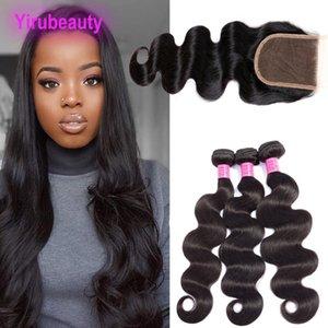 Бразильский Девы волос 3 Связки С 4X4 Lace Closure Естественный цвет тела Волновые пучки с Top Затворы 8-30inch Дешевые Extensions волос