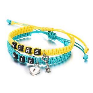 2pcs / pair corda casal Tecelagem Pulseiras Hers Seus bloqueio Letters Key Corda Chains dos amantes do Handmade Braceletes Acessórios Jóias Presente