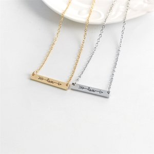 Ingenious Lovers Necklace Love Letters Pendants Necklace Alloy Arrow Through Heart Short Chain Necklace Jewelry Gift EFJ733