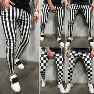 2019 pantaloni a matita degli uomini sottili di moda estate comodo a strisce a quadri neri bianchi i pantaloni casuali più il formato S-2XL