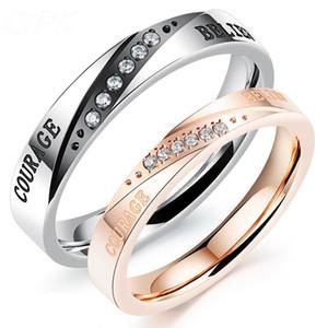 Homens Mulheres Anéis Aço Inoxidável Casal Anéis Amantes Crença Frase Coroa Anéis De Luxo Para Presentes de Aniversário Dos Namorados