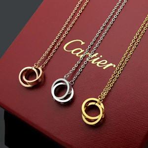 2019Cartierdoble anillo de collar de diamantes de la caja original de titanio de acero chapado de oro rosa 741