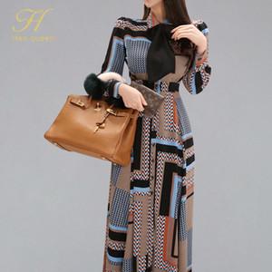 H Han Queen Vintage с принтом Элегантное длинное платье для женщин 2019 Весна однобортный рубашка Платья Талия Свинг до щиколотки Vestidos J190530