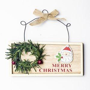 Decorazioni Targhe per porte in legno di Natale Quadro dipinto Targa in legno Ciondolo Quadrato Carino Appeso Regali divertenti per la casa